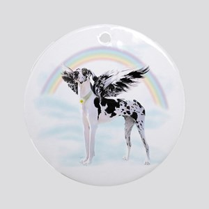 Harlequin Great Dane Angel RB Ornament (Round)
